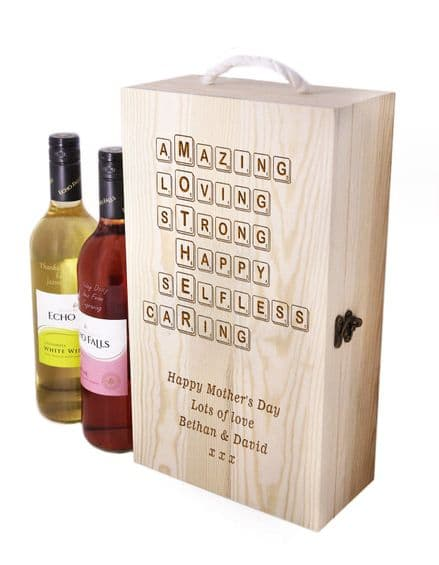 Wooden Wine Box with Scrabble Art Personalised