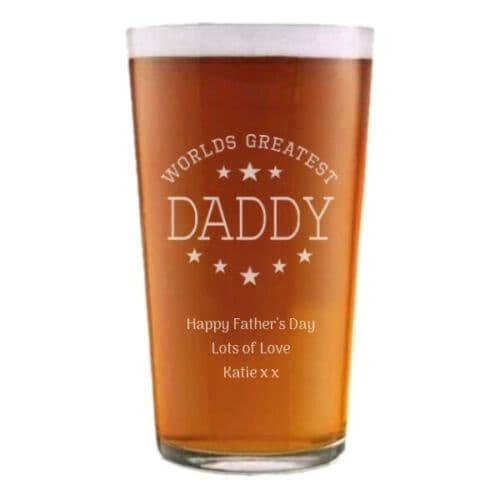 Worlds Greatest Daddy/Dad Pint Beer Glass Personalised