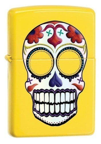 Yellow Day of the Dead Zippo Lighter Personalised
