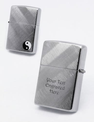 Yin and Yang Brushed Zippo Lighter Personalised