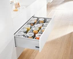 Blum. Pre-Built TANDEMBOX plus BLUMOTION high fronted pull-out, height D (224 mm), 30 kg, NL=450 mm, longside gallery rails with Double-wall BOXSIDES.