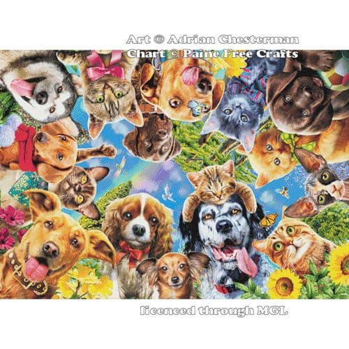 360 degrees of Cats and Dogs by Paine Free Crafts printed cross stitch chart