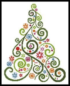 Abstract Christmas Tree by Artecy printed cross stitch chart