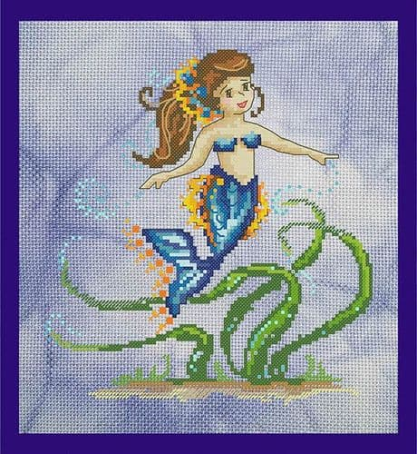 Bella Filipina Mermaid of the Seagrass printed cross stitch chart
