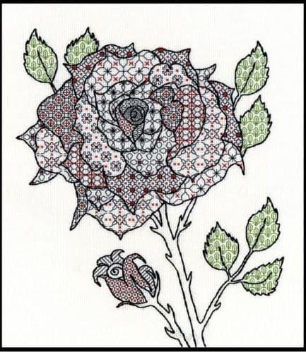 Bothy Threads Blackwork Rose cross stitch kit