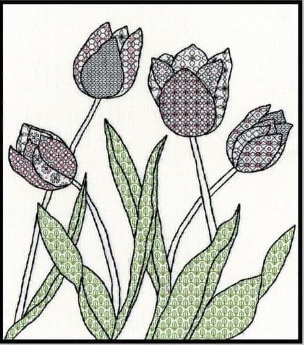 Bothy Threads Blackwork Tulips cross stitch kit