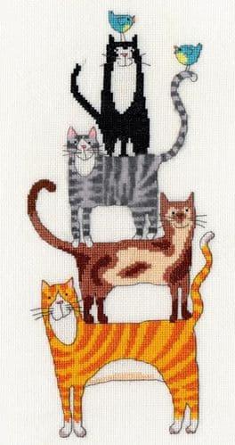 Bothy Threads Cat Stack cross stitch kit