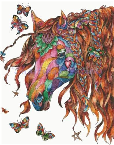 Charting Creations Butterfly Pony printed cross stitch chart