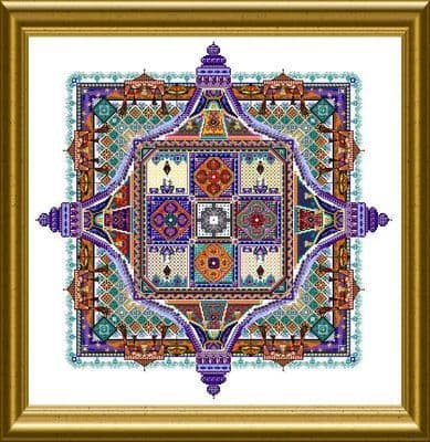 Chatelaine Night Desert Tent Mandala cross stitch chart