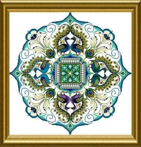 Chatelaine Sparkling Peacock Mandala cross stitch chart