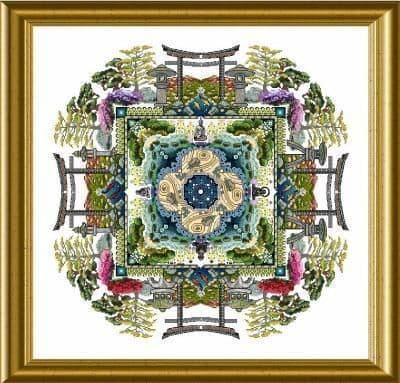 Chatelaine The Japanese Moss Garden Mandala cross stitch chart