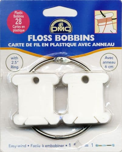 "DMC 28 Plastic Floss Thread Bobbins with 2.5"" Metal Ring"