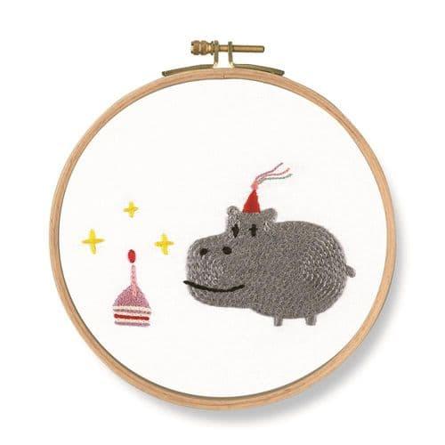 DMC Birthday!  Hippo embroidery kit