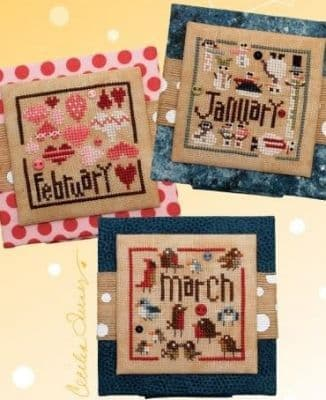 Heart in Hand Square Dance - January, February, March cross stitch chart