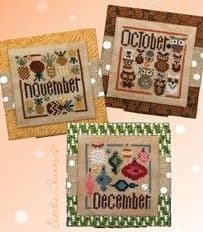 Heart in Hand Square Dance - October, November, December cross stitch chart