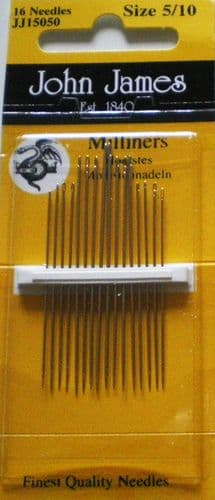 John James Milliners - straws PK 16 needles - sizes 5/10