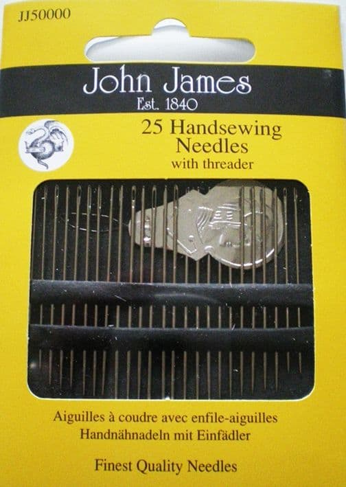 John James PK 25 Needles + threader - size assorted