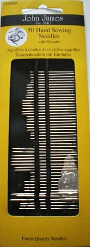 John James PK 50 Needles + threader - size assorted