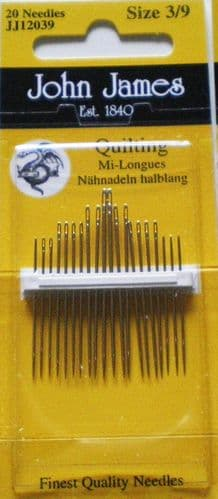 John James Quilting PK 20 needles - sizes 3/9