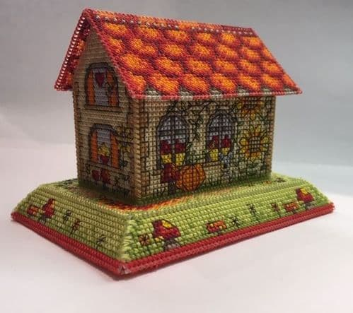 Lakeside Needlecraft 3D Autumn Cottage Design PDF cross stitch chart & kit options