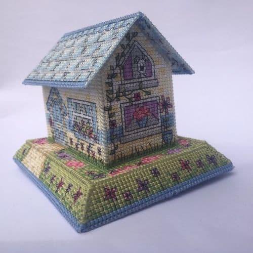 Lakeside Needlecraft 3D Summer Cottage printed cross stitch chart & kit options