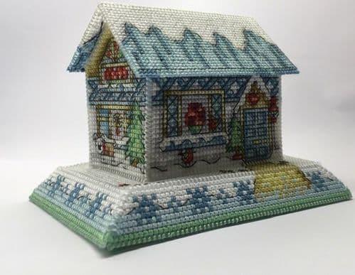 Lakeside Needlecraft 3D Winter Cottage Design PDF cross stitch chart & kit options