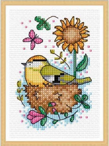 Lakeside Needlecraft Seasonal Birds - Summer Goldcrest cross stitch chart