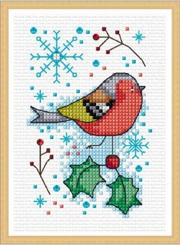 Lakeside Needlecraft Seasonal Birds - Winter Chaffinch cross stitch chart