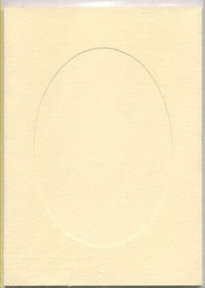 Large Ivory Oval Opening Aperture Window Card & Envelopes -  5 Pack