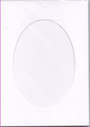 Large White Oval Opening Aperture Window Card & Envelopes -  5 Pack
