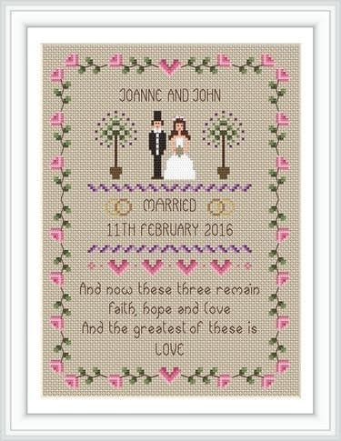 Little Dove Designs Faith, Hope and Love printed cross stitch chart