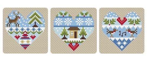 Little Dove Designs Festive Hearts printed cross stitch chart