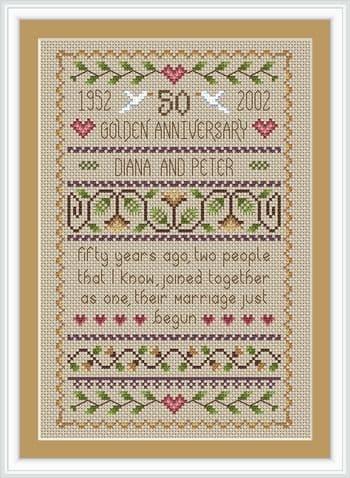 Little Dove Designs Golden Wedding printed cross stitch chart