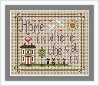 Little Dove Designs Home is Where the Cat Is printed cross stitch chart