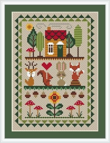 Little Dove Designs Woodland Friends printed cross stitch chart