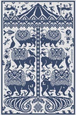Long Dog Samplers Leo Rising printed cross stitch chart - LD105
