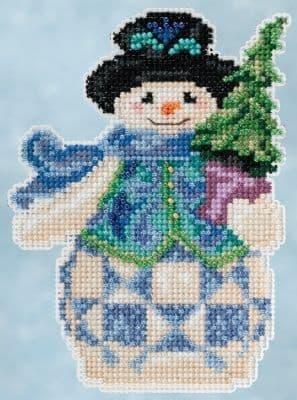 Mill Hill Jim Shore Evergreen Snowman beaded cross stitch kit