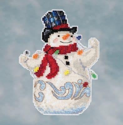 Mill Hill Jim Shore Snowman With Lights beaded cross stitch kit