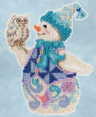 Mill Hill Jim Shore Snowy Owl Snowman beaded cross stitch kit
