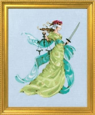 Mirabilia Lady Justice printed cross stitch chart
