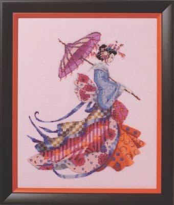 Mirabilia Miss Cherry Blossom printed cross stitch chart