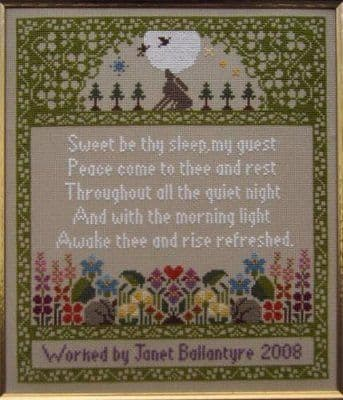 Moira Blackburn Guest Room Sampler (Moon Sampler) printed cross stitch chart