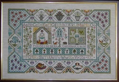 Moira Blackburn Peaceful Garden Sampler printed cross stitch chart
