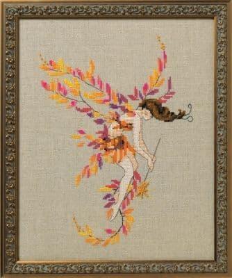 Nora Corbett Glittering Leaves printed cross stitch chart