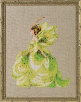 Nora Corbett Green Lady Slipper printed cross stitch chart
