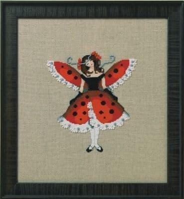 Nora Corbett Miss Ladybug printed cross stitch chart