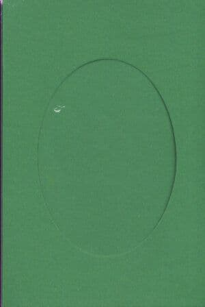 Small Christmas Green Oval Opening Aperture Window Card & Envelopes -  10 Pack
