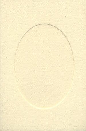 Small Ivory Oval Opening Aperture Window Card & Envelopes -  10 Pack