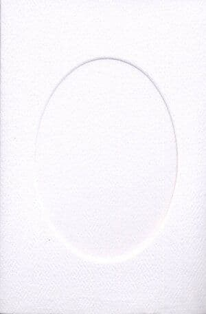 Small White Oval Opening Aperture Window Card & Envelopes -  10 Pack