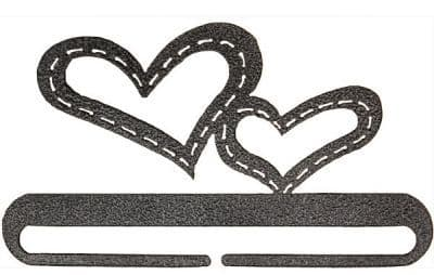 """Stitched Hearts 6"""" Charcoal Metal Bellpull"""